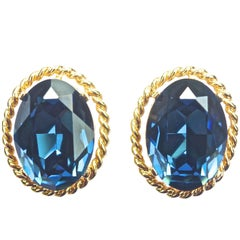 Ciner Vintage Gold Tone and Blue Glass Earrings