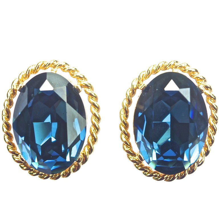 overlay hydro products blue glass gold plated earrings