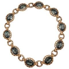 CINER Vintage Inspired Ornate Black Diamond Necklace