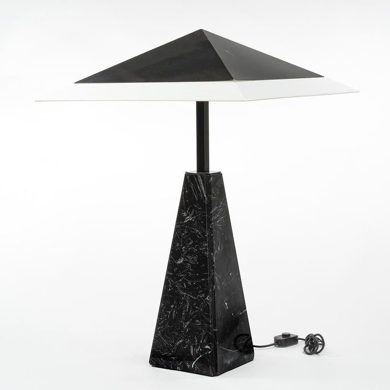 Abat Jour table lamp with marble base and wide pyramid perspex shade by Cini Boeri for Arteluce, Italy, circa 1978.