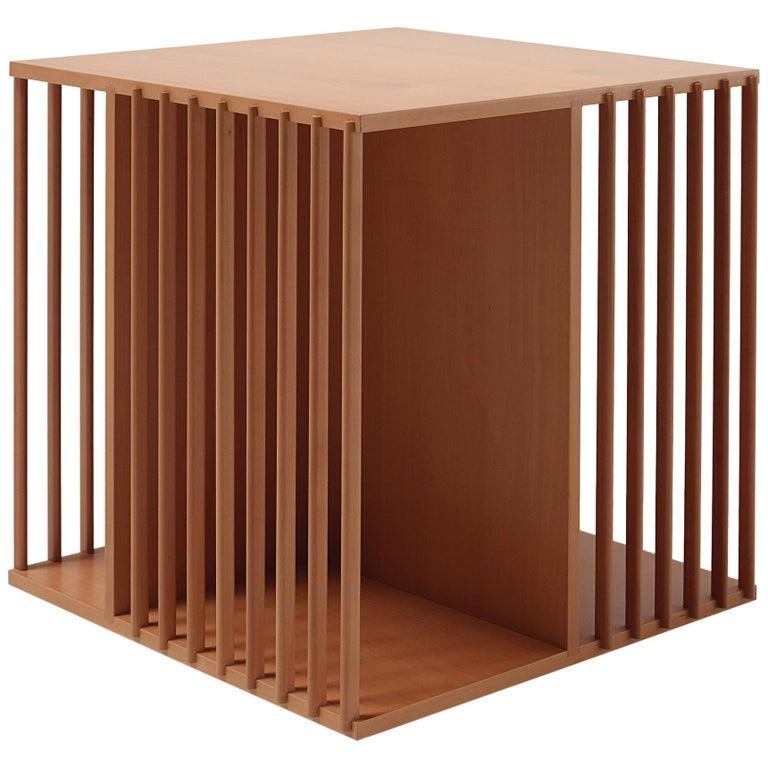 For Sale: Brown (Walnut) Cini Boeri Large Libreria Girevole Wooden Rotating Bookcase for Bottega Ghianda