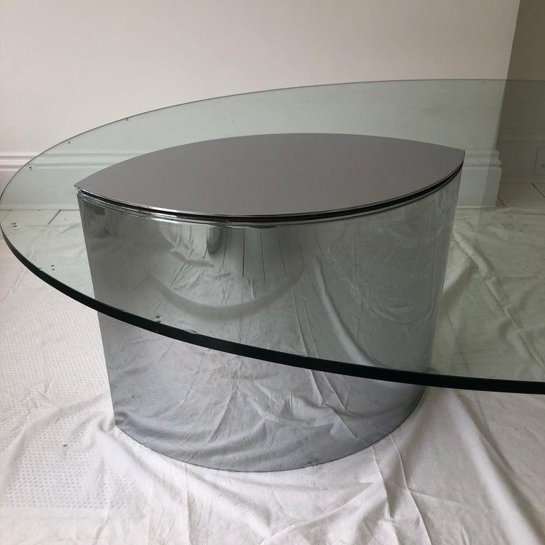 Italian Cini Boeri Lunario Cocktail Coffee Table Gavina 1970s Chrome Glass For Sale