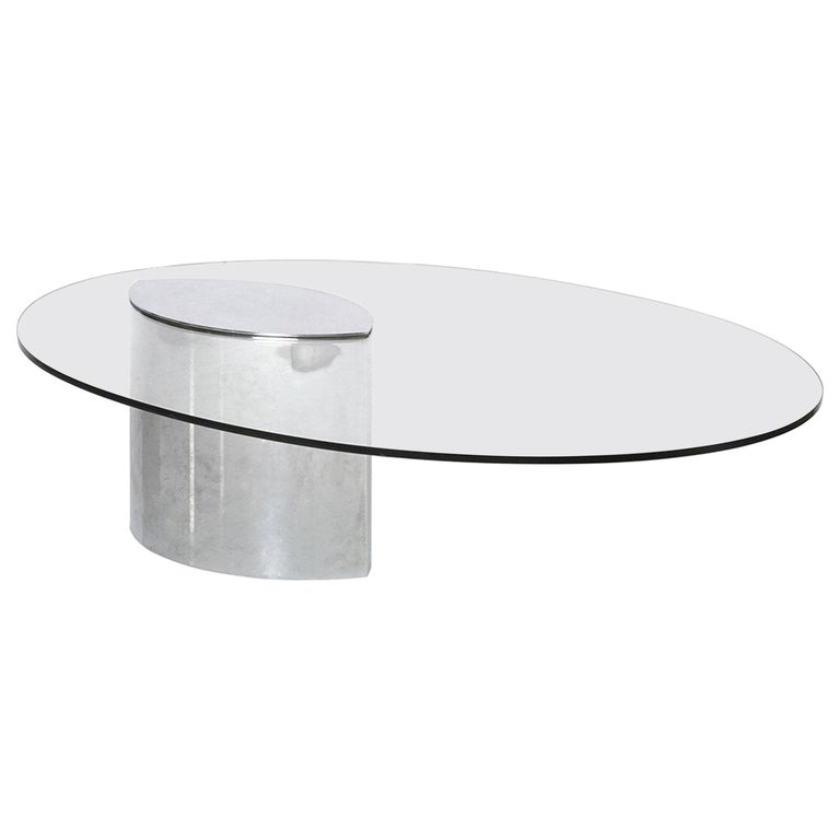 Cini Boeri Lunario Cocktail Coffee Table Gavina 1970s Chrome Glass For Sale