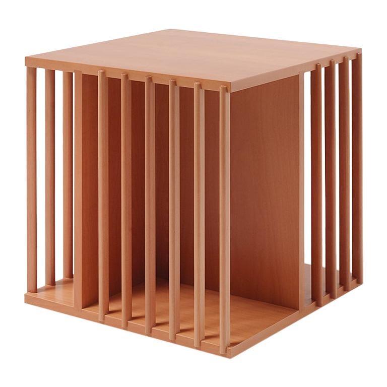 For Sale: Orange (Pearwood) Cini Boeri Small Libreria Girevole Wooden Rotating Bookcase for Bottega Ghianda
