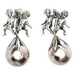 Cini Sterling Silver Cherub Clip On Dangle Earrings Italian Vintage