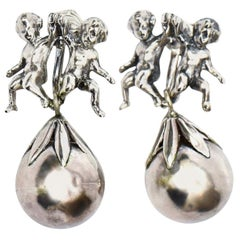 Cini Sterling Silver Cherub Clip On Dangle Earrings Italian Vintage