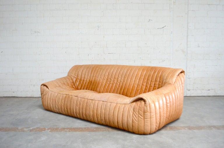Cinna / Ligne Roset Leather Sofa Sandra by Annie Hieronimus Natural Cognac 3
