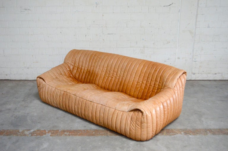 Cinna / Ligne Roset Leather Sofa Sandra by Annie Hieronimus Natural Cognac 4