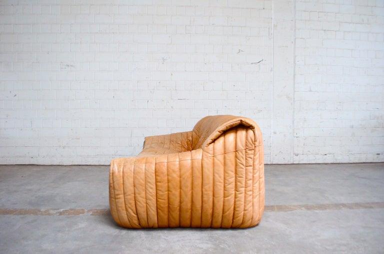 Cinna / Ligne Roset Leather Sofa Sandra by Annie Hieronimus Natural Cognac 7