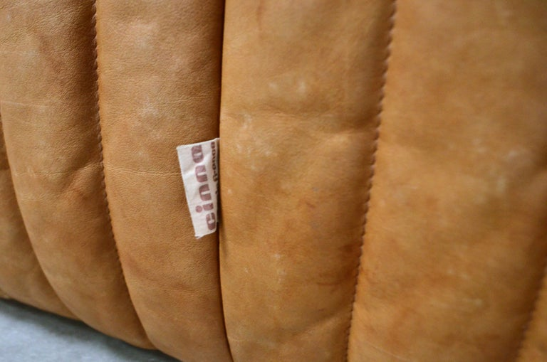 Cinna / Ligne Roset Leather Sofa Sandra by Annie Hieronimus Natural Cognac 8