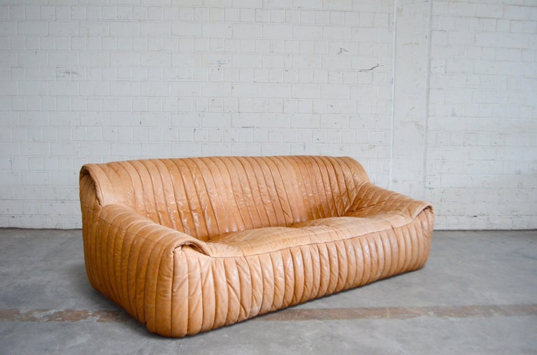 Cinna / Ligne Roset Leather Sofa Sandra by Annie Hieronimus Natural Cognac 10
