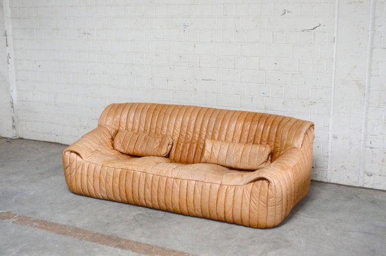 Cinna / Ligne Roset Leather Sofa Sandra by Annie Hieronimus Natural Cognac In Good Condition In Munich, Bavaria