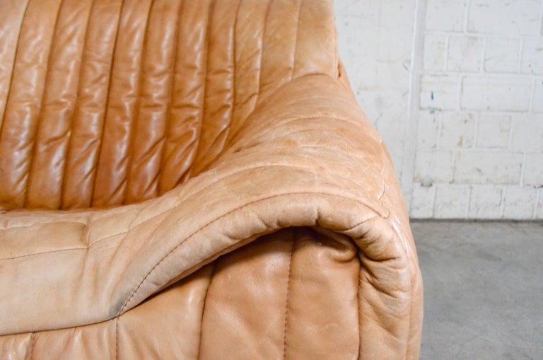 Upholstery Cinna / Ligne Roset Leather Sofa Sandra by Annie Hieronimus Natural Cognac