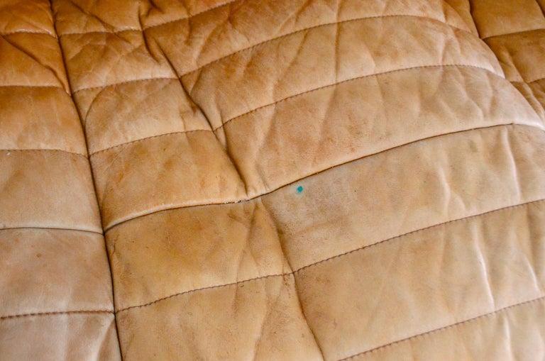 Cinna / Ligne Roset Leather Sofa Sandra by Annie Hieronimus Natural Cognac 1