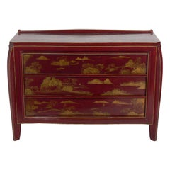 Cinnabar and Gold Hand Painted Chinoiserie Chest