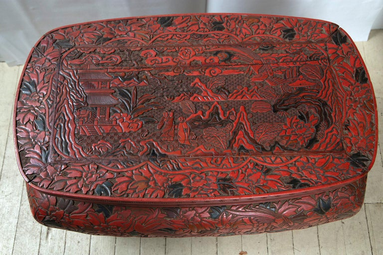 Hand-Carved Cinnabar Low Table For Sale