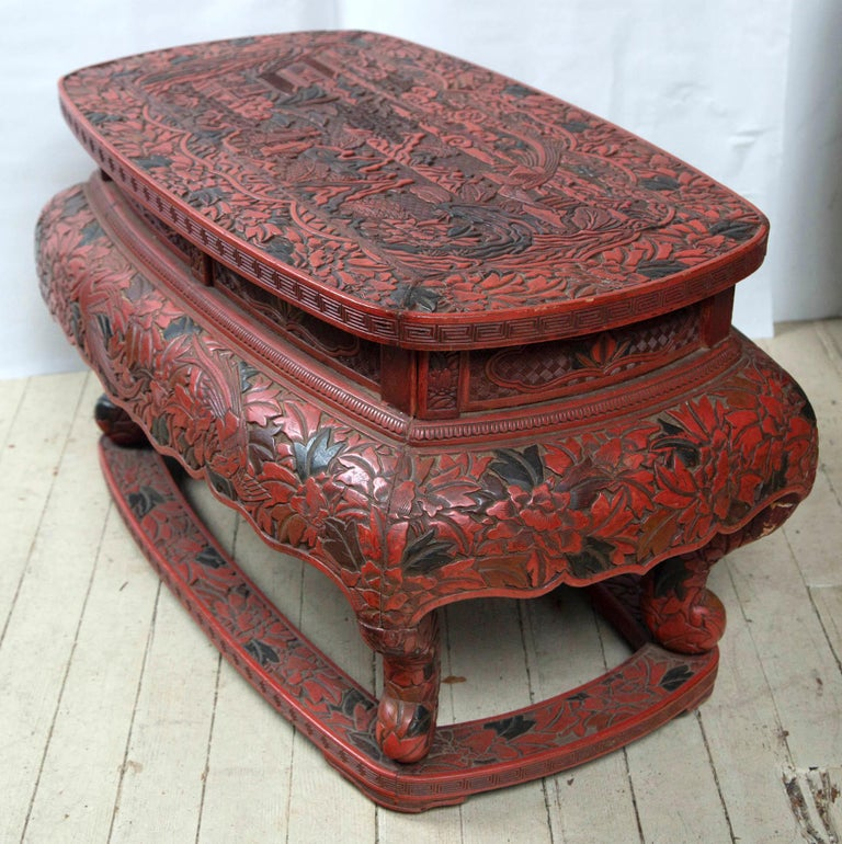 19th Century Cinnabar Low Table For Sale