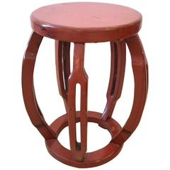 Cinnabar Red Chinese Carved Wood Garden Seat End Table Side or Drinks Table