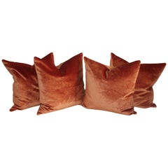 Cinnamon Silk Velvet Pillows, 2 Pairs