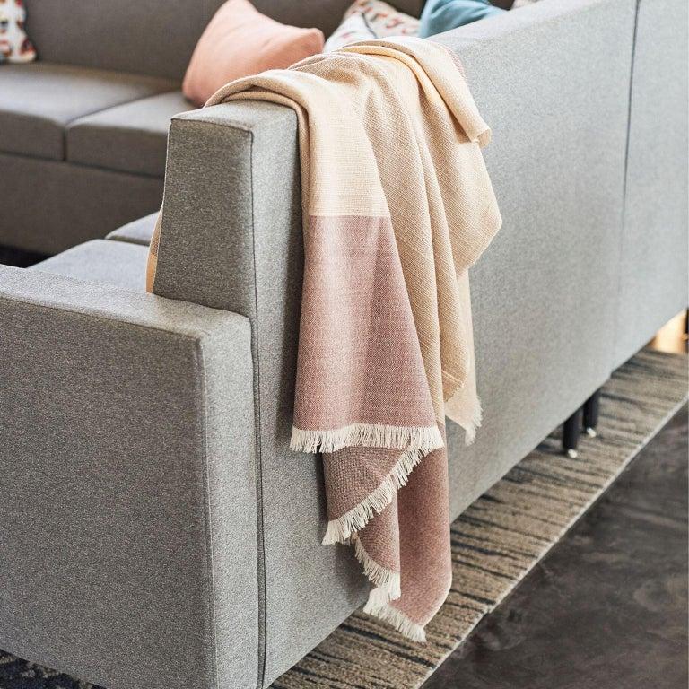 Modern CINO Merino Handloom Throw / Blanket In Soft Neutral Shades of Cream & Brown For Sale
