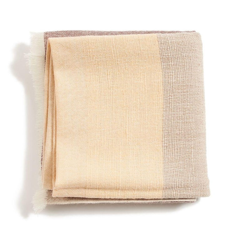 Nepalese CINO Merino Handloom Throw / Blanket In Soft Neutral Shades of Cream & Brown For Sale