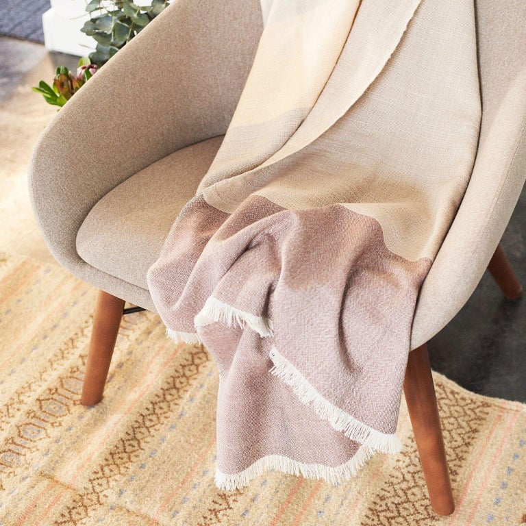 Hand-Woven CINO Merino Handloom Throw / Blanket In Soft Neutral Shades of Cream & Brown For Sale