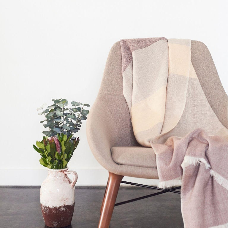 Contemporary CINO Merino Handloom Throw / Blanket In Soft Neutral Shades of Cream & Brown For Sale