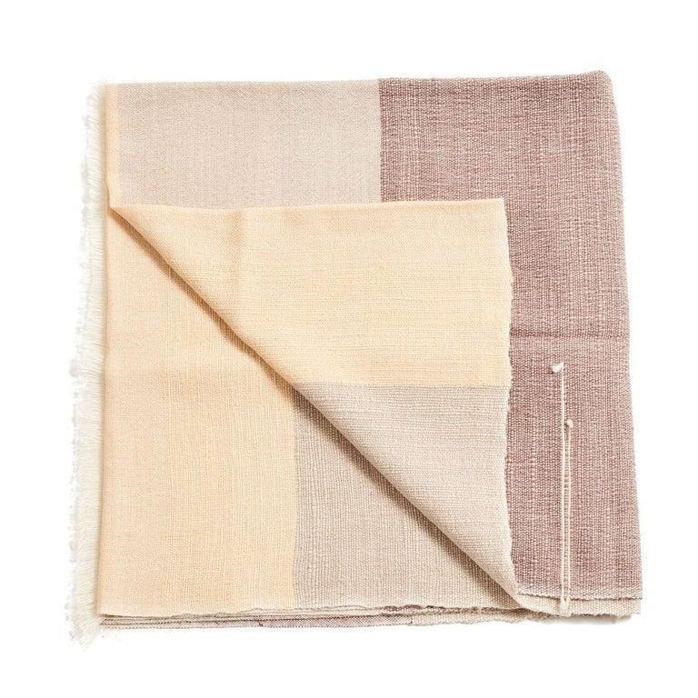 Yarn CINO Merino Handloom Throw / Blanket In Soft Neutral Shades of Cream & Brown For Sale