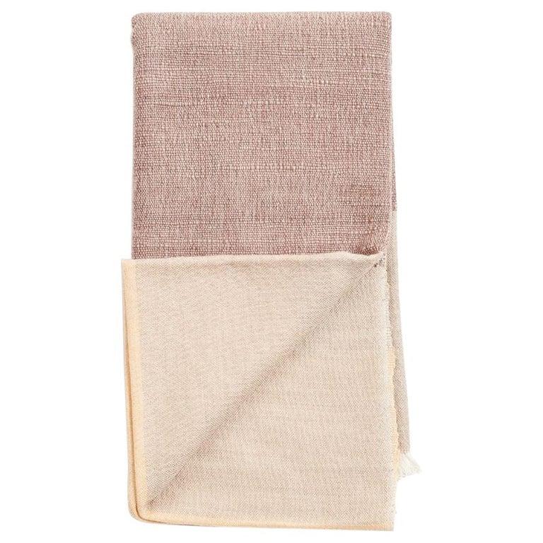 CINO Merino Handloom Throw / Blanket In Soft Neutral Shades of Cream & Brown For Sale