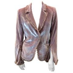 Cinq a Sept Pink Velvet Ruffle Jacket NWT