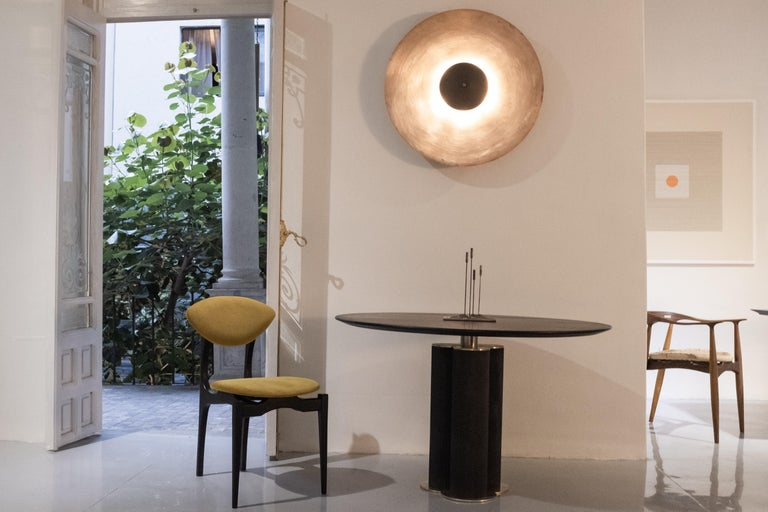 Mexican Cinta Charred Oak and Brass Dining Table by ATRA For Sale