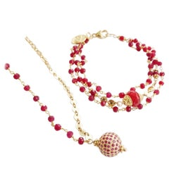 Ruby and Pink Sapphire Cinta Love Necklace