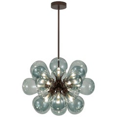 Cintola Maxi Pendant by Tom Kirk with Hand Blown Glass in Satin Bronze
