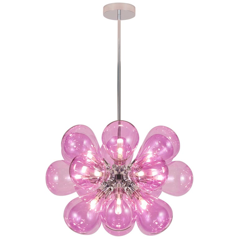 Cintola Maxi Pendant by Tom Kirk with Hand Blown Glass in Polished Aluminum For Sale
