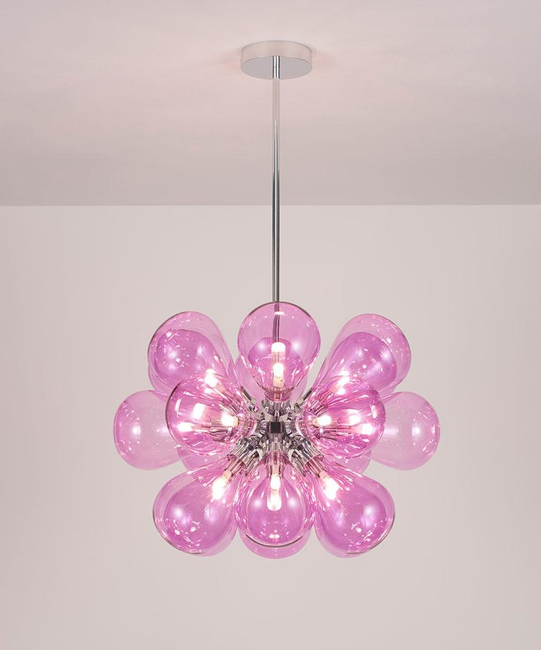 British Cintola Maxi Pendant by Tom Kirk with Hand Blown Glass in Polished Aluminum For Sale