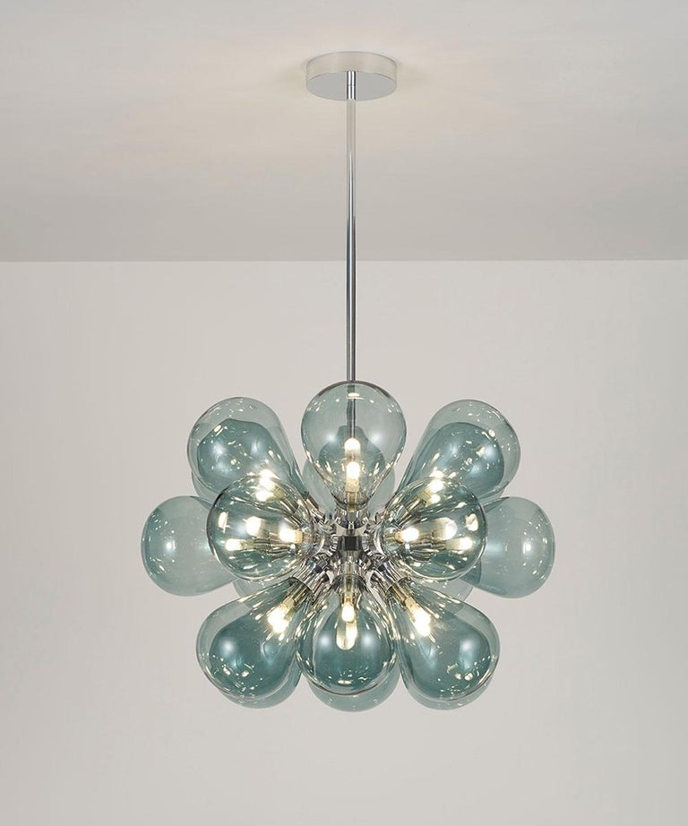 Cintola Maxi Pendant by Tom Kirk with Hand Blown Glass in Polished Aluminum In New Condition For Sale In New York, NY