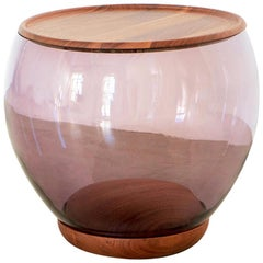 Ciocio Hand Blown Glass Side Table in Amethyst Color with Walnut Wood