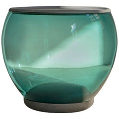 Ciocio Hand Blown Glass Side Table in Mountain Blue Color with Grey Oak