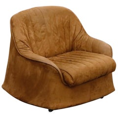 'Ciprea' Suede Club Chair by Tobia and Afra Scarpa for Cassina, 1968, Signed