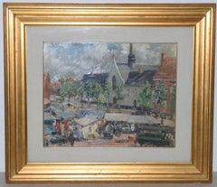 "Cipriano Mannucci ""Italian Village Landscape"" Original Oil Painting c.1927"