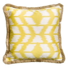 Cipriano Musterd Traditional Ethnic Ikat in Yellow and White Cushion Pillow