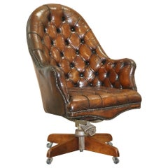 Restored Chesterfield Godfather Leather Captains Chair Hillcrest, circa 1900