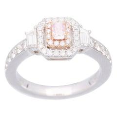 Cirari 0.17 Carat GiIA Certified Pink Diamond 18 Karat Two-Tone Gold Ring