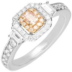 0.17 Carat GiIA Certified Pink Diamond 18 Karat Two-Tone Gold Ring