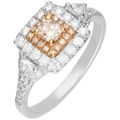 0.24 Carat Pink Diamond 18 Karat Two-Tone Gold Engagement Ring