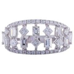 0.38 Carat Princess Cut Diamond 18 Karat White Gold Band Ring