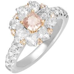 0.55 Carat GIA Certified Pink Diamond 18 Karat Two-Tone Engagement Ring