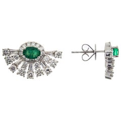 0.86 Carat Emerald and Diamond 18 Karat White Gold Earrings