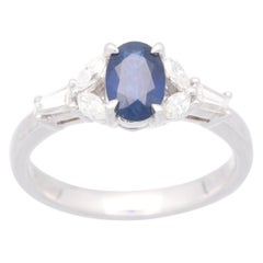 Cirari 0.92 Carat Blue Sapphire and Diamond 18 Karat White Gold Engagement Ring