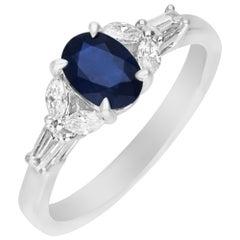 0.92 Carat Blue Sapphire and Diamond 18 Karat White Gold Engagement Ring